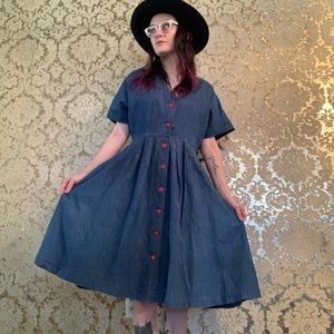 VTG 80s does 50s Denim Swing Dress